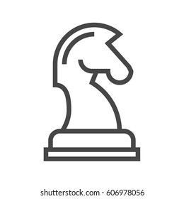 Horse Chess Thin Line Vector Icon. Flat icon isolated on the white background. Editable EPS file. Vector illustration.