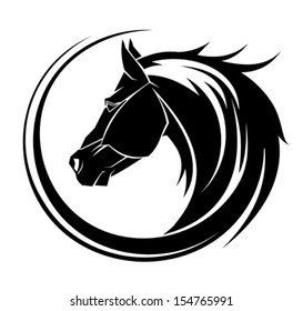 Horse circle tribal tattoo art.