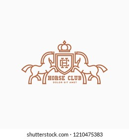 Horse club logo design template with two horses and a shield in outline style. Vector illustration.