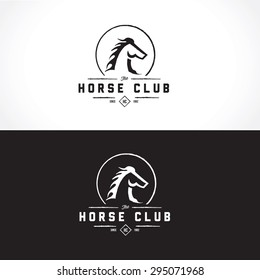 Horse Club Luxury Crest Vintage Vector Logo Template
