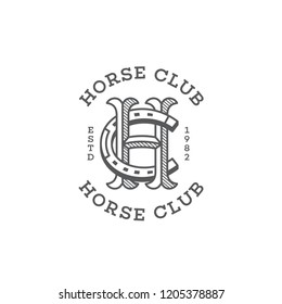 Horse club monogram with letter h and letter c stylized as horseshoe in outline style. Vector illustration.