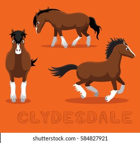 Horse Clydesdale Cartoon Vector Illustration