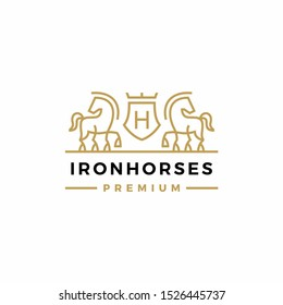 horse coat of arms logo vector icon illustration