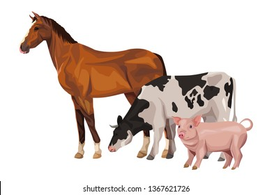 horse cow and pig