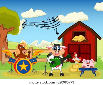 Horse, cow, pig and chicken playing music at the farm