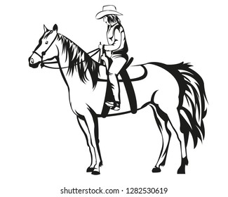 Horse with cowgirl in tattoo art