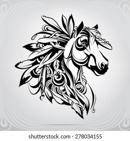 Horse decorated in Indian style