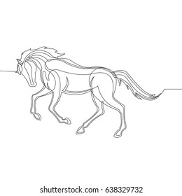 Horse Design Vector with Continuous Line Style