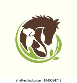 Horse, Dog, Cat Animal Logo Design Vector Template