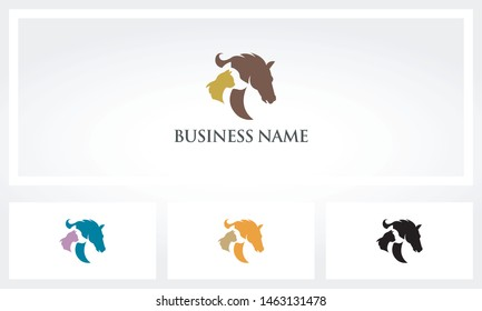 Horse Dog And Cat In A Row Logo