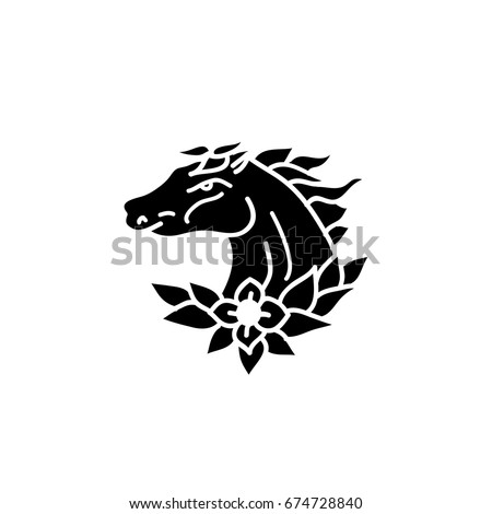 Horse Doodle Icon Traditional Tattoo Flash Stock Vector Royalty