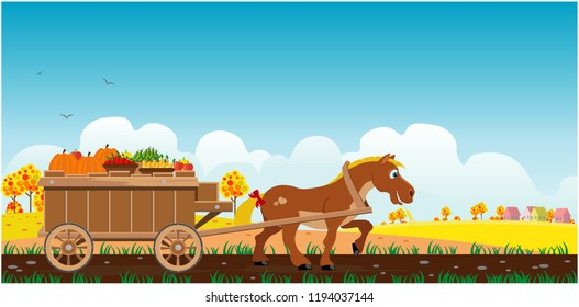 Horse drags a cart with an autumn harvest. Vector illustration.
