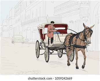A horse drawn carriage in the French Quarter on Bourbon Street in New Orleans. Hand drawn vector illustration.