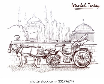 Horse drawn Landau waiting for tourists on the Sultanahmet square. Istanbul, Turkey. Sketch imitating ink pen drawing. EPS10 vector illustration.