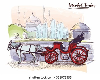 Horse drawn Landau waiting for tourists on the Sultanahmet square. Istanbul, Turkey. Line sketch isolated in a separate layer above traced watercolor background. EPS10 vector illustration.