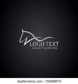 horse elegant logo symbol vector for company symbol meaning strange simplicity line curve with cutting edge