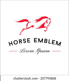 Horse Emblem. Running Horse Icon Isolated On White Background - Vector Illustration, Editable Template For Your Logo Design