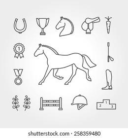 Horse equipment icon set