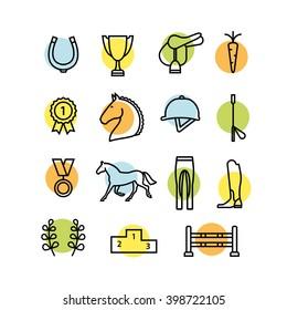 Horse equipment icon set thin line. Color in circle logo, logotype, sign, symbol. Horseshoe, winner, horse, saddle, equestrian icon Equestrian horses logotype