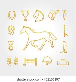 Horse equipment icon set thin line. Color in circle logo, logotype. Gold sign, symbol. Horseshoe, winner,  saddle, equestrian icon. Equestrian horse logotype.