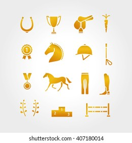 Horse equipment icon set thin line. Color in circle logo, logotype. Gold sign, symbol. Horseshoe, winner,  saddle, equestrian icon. Line element, equestrian horse logotype.