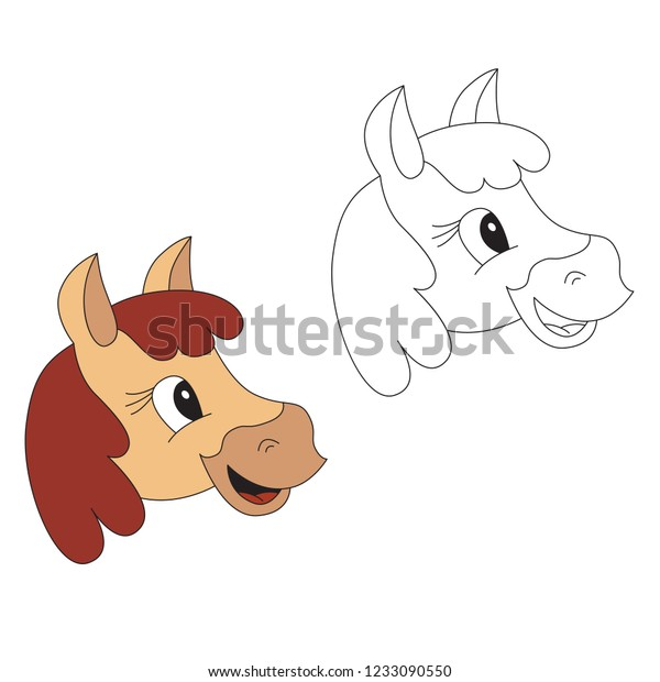 Horse Face Cartoon Outlined Illustration Thin Stock Vector Royalty