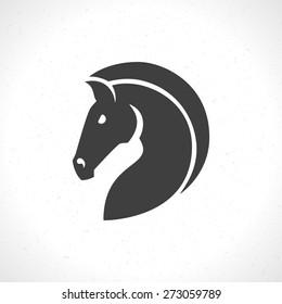 Horse face logo emblem template mascot symbol for business or shirt design. Vector Vintage Design Element.