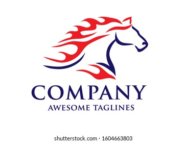 Horse with Fire logo concept vector template,Fast Speed Horse Logo Design Vector