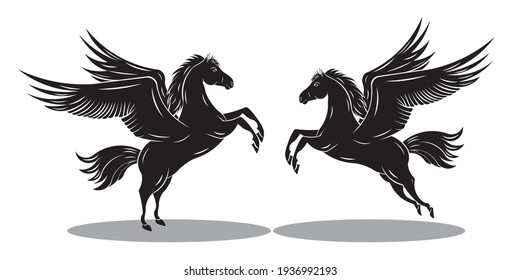 Horse with flying wings or Pegasus drawing in black and white vector
