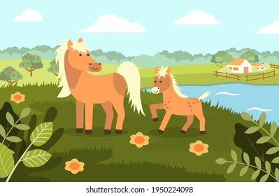 A horse with a foal on the background of a rural landscape in a flat style. Vector illustration