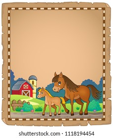 Horse with foal theme parchment 1 - eps10 vector illustration.