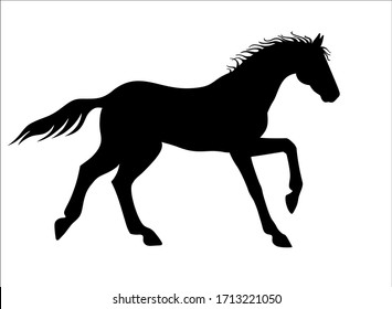Horse galloping - vector silhouette for logo or pictogram. Hand drawing. A horse in a canter, phase with support on two legs. Beautiful, thoroughbred Prancing stallion - black silhouette sign