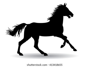 A horse gallops fast, vector illustration silhouette on a white background