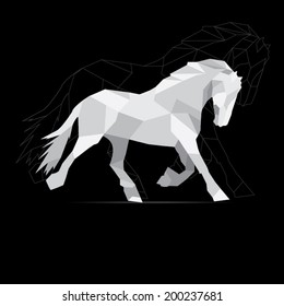 Horse geometric style. polygon vector.