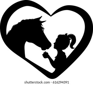 Horse and Girl Heart Silhouette - Vector Illustration