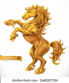 Horse, gold emblem. 3d vector icon