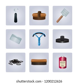 Horse grooming kit items including hoof pick, body brush, metal curry comb, mane comb, sweat scraper, rubber curry comb, plaiting bands, dandy brush and hoof oil.
