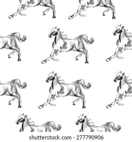 Horse hand drawn graphic illustration painted pencil isolated on white, seamless vector pattern, decorative background, designed texture, ornament for greeting card, package, wallpaper, scrapbook