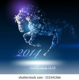 Horse. Happy new year 2014. Vector eps 10.