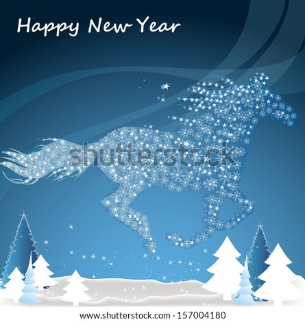 Horse Happy New Year Merry Christmas Stock Vector (Royalty Free ...