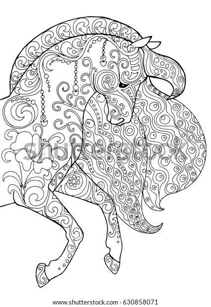 Horse Head Beautiful Decorated Doodle Patterns Stock Vector