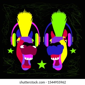Horse head cartoon with mohawk and headphones, neon vivid colors