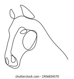 Horse head Continuous one line drawing art. Horse for logo, card, banner, poster, flyer - Editable line Vector