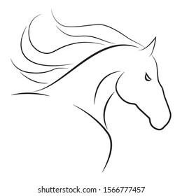 Horse head contour. Vector drawing on an isolated white background. Drawn by hand. Smooth black lines.