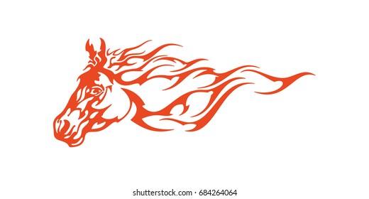 Horse Head Flame Vector Template Design