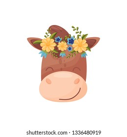 Horse head with flower wreath. Flora and fauna concept.