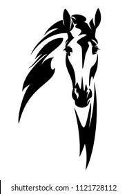 horse head front view black and white vector design