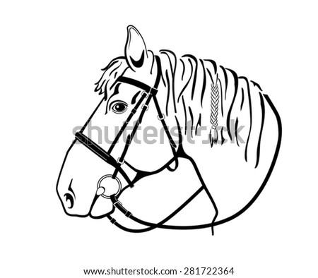 Horse Head Harness Isolated Black White Stock Vector Royalty Free