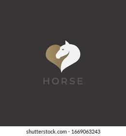 Horse head in heart shape logo template. Premium creative vector logotype. Horse ranch, farm or race logo design.