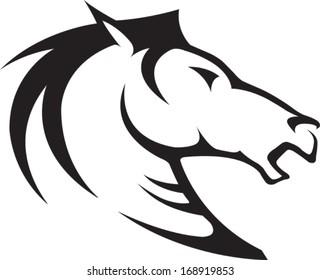 Horse Head Illustrated Horse Bust Profile. Black and White. Vector file.